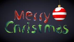 Testo di Buon Natale fatto con i colori della pittura ad olio Immagini Stock Libere da Diritti
