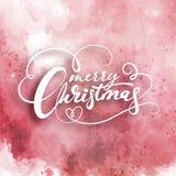 Testo di Buon Natale Modello dell'acquerello della carta di progettazione di iscrizione Tipografia creativa per il manifesto del  royalty illustrazione gratis