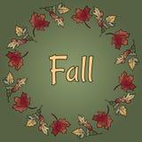 Testo di caduta in ornamento della corona delle foglie di autunno Fogliame arancio e rosso di autunno royalty illustrazione gratis