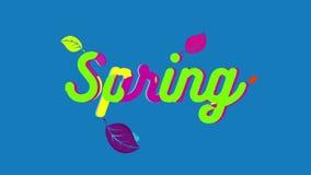 Testo di colore della primavera stock footage