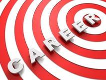 Testo di concetto di carriera sopra l'obiettivo rosso e bianco Immagini Stock