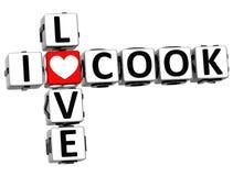 testo di Crossword Block del cuoco di amore di 3D I Fotografie Stock
