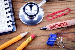 Testo di diagnosi sulla matita fotografia stock libera da diritti