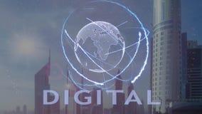 Testo di Digital con l'ologramma 3d del pianeta Terra contro il contesto della metropoli moderna illustrazione di stock