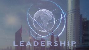 Testo di direzione con l'ologramma 3d del pianeta Terra contro il contesto della metropoli moderna illustrazione di stock