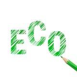Testo di Eco estratto con la matita verde Fotografie Stock Libere da Diritti