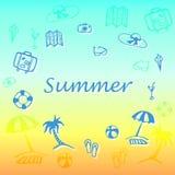 Testo di estate con le icone di vacanza illustrazione vettoriale