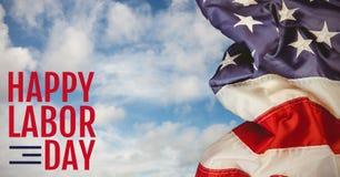 Testo di festa del lavoro sopra la bandiera degli Stati Uniti Immagine Stock Libera da Diritti