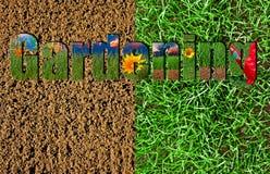 Testo di giardinaggio sul fondo dell'erba e del suolo Immagine Stock