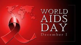 Testo di Giornata mondiale contro l'AIDS su fondo rosso con il nastro rosso illustrazione di stock