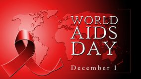 Testo di Giornata mondiale contro l'AIDS su fondo rosso con il nastro rosso illustrazione vettoriale