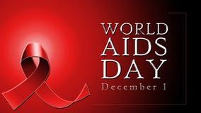 Testo di Giornata mondiale contro l'AIDS su fondo rosso con il nastro rosso royalty illustrazione gratis