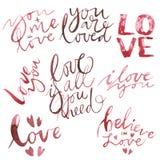 Testo di giorno di biglietti di S. Valentino immagini 3d isolate su priorità bassa bianca Fissi la citazione romantica per le car Illustrazione di Stock