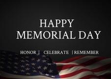 Testo di Giorno dei Caduti con la bandiera di U.S.A. fotografie stock