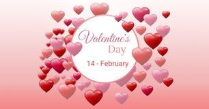 Testo di giorno del ` s del biglietto di S. Valentino e cuori pieni di bolle dei biglietti di S. Valentino con il cerchio vuoto Fotografia Stock Libera da Diritti