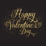 Testo di giorno del ` s del biglietto di S. Valentino di scintillio dell'oro Fotografia Stock Libera da Diritti