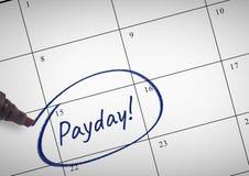 Testo di giorno di paga scritto sul calendario con l'indicatore Immagine Stock
