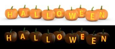 Testo di Halloween intagliato sulla lanterna della presa della zucca illustrazione di stock
