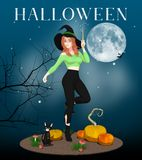 Testo di Halloween su una strega e su Cat Illustration Royalty Illustrazione gratis