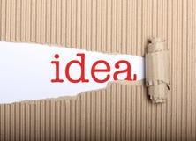 Testo di idea su cartone di carta e lacerato Fotografia Stock