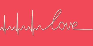Testo di impulso di battito cardiaco l'amore di parola, linea calligrafica disegnata a mano, concetto di amore di vettore per il  illustrazione di stock