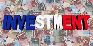 Testo di investimento con la bandiera del francese sull'illustrazione degli euro illustrazione di stock