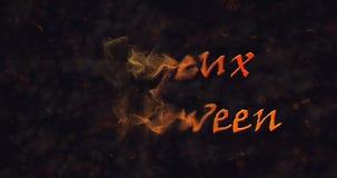 Testo di Joyeux Halloween nella dissoluzione francese nella polvere a sinistra archivi video