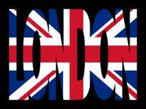 Testo di Londra con la bandierina Fotografia Stock Libera da Diritti