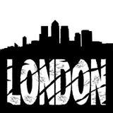Testo di Londra dell'orizzonte dei Docklands Immagini Stock
