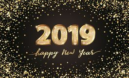 Testo di lusso di vettore dorato 2019 buoni anni Progettazione festiva di numeri dell'oro Coriandoli di scintillio dell'oro Cifre royalty illustrazione gratis