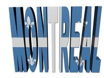 Testo di Montreal con la bandierina della Quebec illustrazione di stock