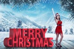 Testo di Natale di Santa Claus Woman Standing With Merry Immagini Stock