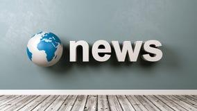 Testo di notizie e globo della terra contro la parete Fotografia Stock Libera da Diritti