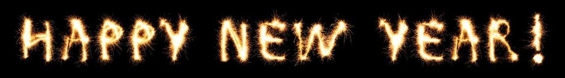 Testo di nuovo anno felice Fotografia Stock Libera da Diritti