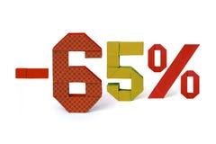 Testo di origami della vendita a ribasso 65 per cento Immagini Stock