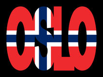 Testo di Oslo con la bandierina Fotografie Stock