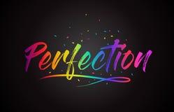 Testo di parola di perfezione con i colori vibranti ed i coriandoli dell'arcobaleno scritto a mano royalty illustrazione gratis