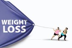 Testo di peso eccessivo di perdita di peso di tiraggio delle donne Immagini Stock Libere da Diritti