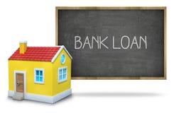 Testo di prestito bancario sulla lavagna con la casa 3d Fotografia Stock Libera da Diritti