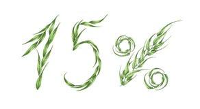 testo di 15%, quindici per cento dalle foglie verdi Illustrazione dell'acquerello illustrazione vettoriale