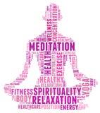 Testo di salute e di yoga Info Fotografia Stock