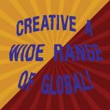 Testo di scrittura di parola creativo una vasta gamma di globale Concetto di affari per creatività sparsa intorno al tono del mon illustrazione vettoriale