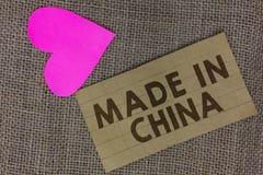 Testo di scrittura di parola fatto in Cina Il concetto di affari per il pezzo asiatico commerciale globale di commercio del merca fotografia stock