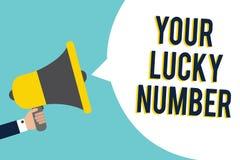 Testo di scrittura di parola il vostro Lucky Number Concetto di affari per credere nella SPE di indicazione del segnale del casin Immagine Stock