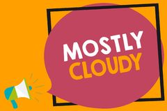 Testo di scrittura di parola principalmente nuvoloso Concetto di affari per l'altoparlante nebuloso lanuginoso nebbioso Vaporous  illustrazione vettoriale