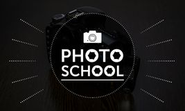 Testo di scuola della foto, logo, arte per progettazione Immagine Stock