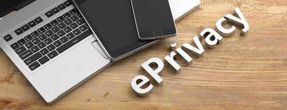 Testo di segretezza di E e apparecchi elettronici, fondo di legno, spazio della copia illustrazione 3D illustrazione di stock