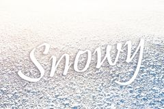 Testo di Snowy sul congelato su Immagini Stock Libere da Diritti
