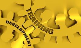 Testo di sviluppo e di addestramento sugli ingranaggi Immagini Stock