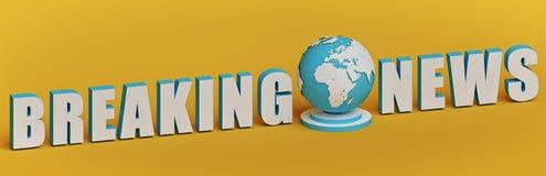 Testo di ultime notizie con il globo della terra rappresentazione 3d illustrazione vettoriale